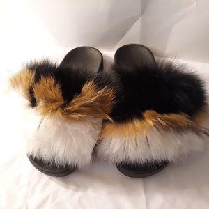 Brand new  fox fur slides